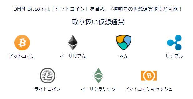 DMMビットコインの取扱通貨の種類と銘柄