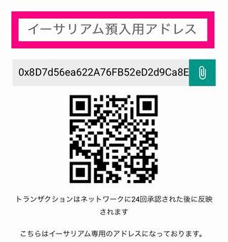 ビットバンクにイーサリアムを送金する方法・送金方法2